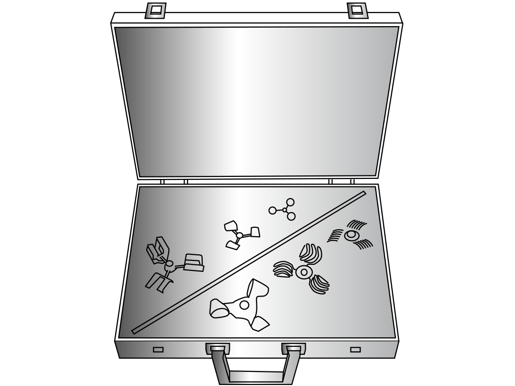 Laboratory suitcase with variety of mixing elements